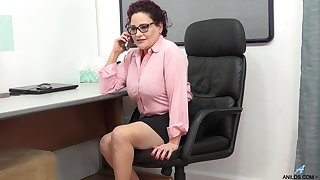 Disparaging adult woman is masturbating pussy in make an issue of office