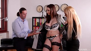 Full orgasms for these classy situation MILFs during a wild trio