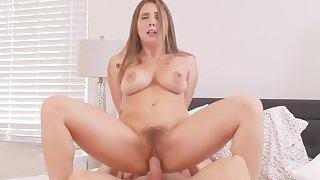 Horny Big Tit Brunette Needs Contractors Big Dick