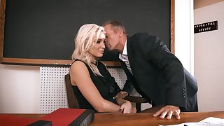 Cissified principal welcomes one of the advanced position teachers for intimate relations in her office