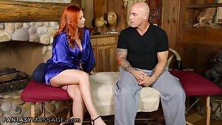 Pretty ginger masseuse Edyn Blair treats Derrick Pierce with nice flannel massage