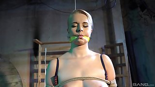 Submissive blonde accepts any type of rough treatment stranger her master