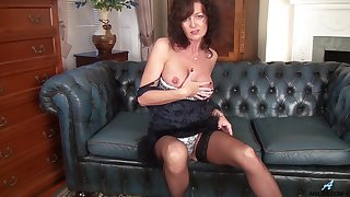 Adult star Lucy Heart drops the brush panties to masturbate on the sofa