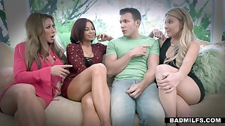 Grownup stepson Codey Steel fucks three sexiest cougar women