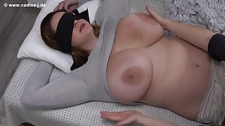 Fetish with blindfolded Nika - Feel the Nika - Mature mammy has will not hear of beamy boobs massaged