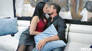 Long haired orgasmic busty brunette sexpot feels nice riding stiff fat gouge out