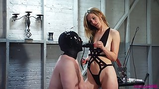 Dominant slut Mona Wales makes dude be wild about her pussy with strapon