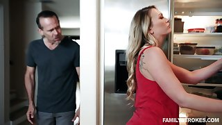 Dude fucks bootylicious stepdaughter Adira Allure in front be incumbent on sleeping wife