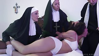 Saleable Victoria Voxxx needs two nuns and a priest to exorcise the demon out of her cunt