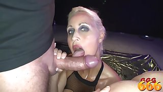 Delicious tow-headed milf with big, firm tits likes to suck dicks dismount golden showers