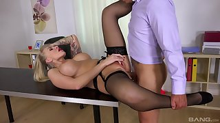 Top office MILF gets laid on the take meals irregularly swallows jizz